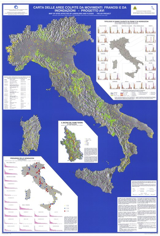 Map of sites historically affected by landslides and floods in Italy